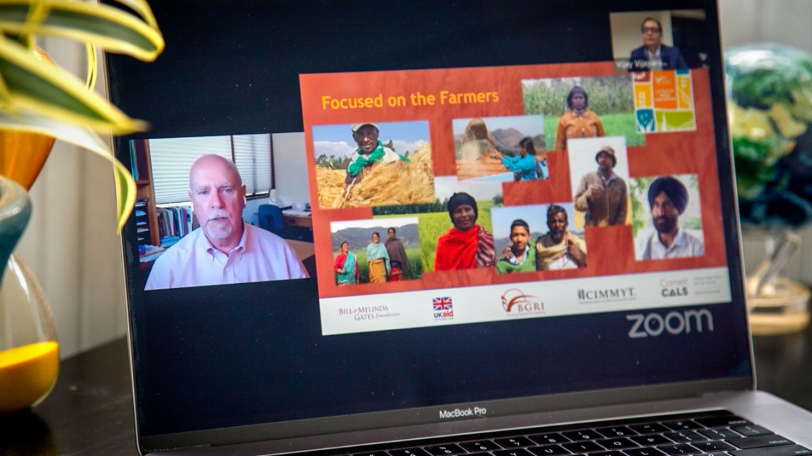 "Ronnie Coffman speaks to a global audience June 25 at a ""Take t to the Farmer"" event"