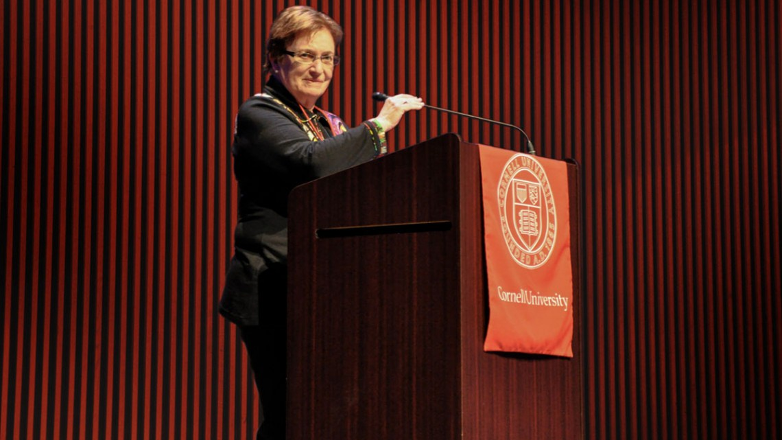 Ann S. Bowers '59, speaking as chair of the Cornell Silicon Valley Advisors in 2017.
