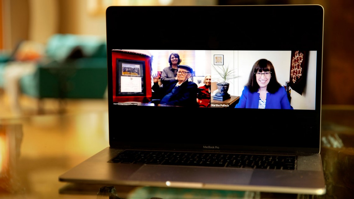 Charles F. Feeney with his wife, Helga and President Martha E. Pollack during a virtual presentation.