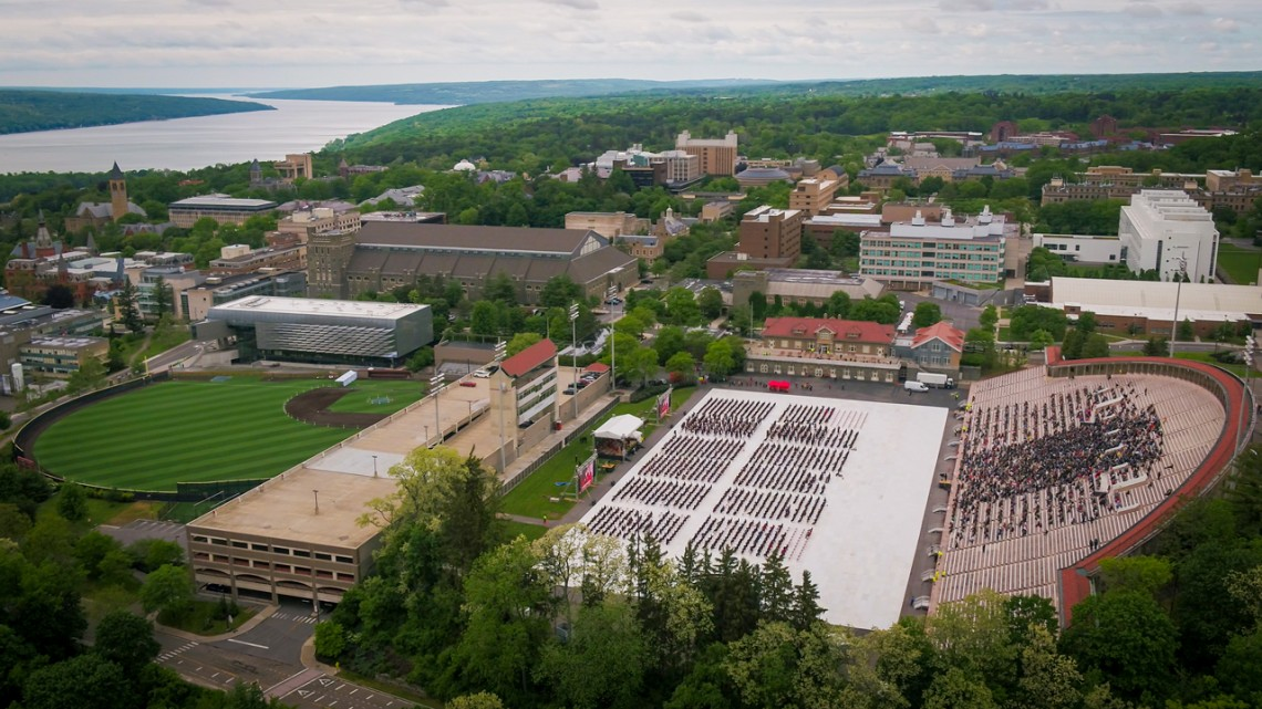 A view of Schoellkopf Field and Cornell campus from the air..