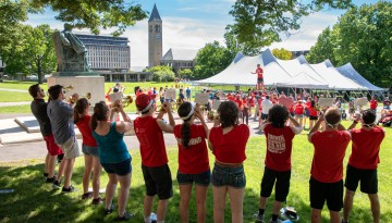 The Big Red Marching Band performs on the Arts Quad.