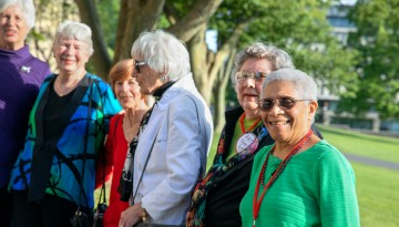 Reunion attendees on campus.