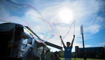 Making giant bubbles on North Campus.