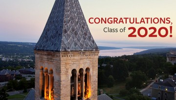 McGraw Tower with words congratulating Class of 2020