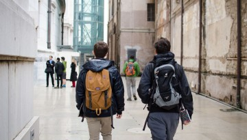 Students walking in Rome