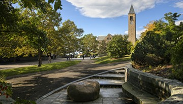 McGraw Tower in summer from the Alpha Phi Alpha Centennial Memorial bench.