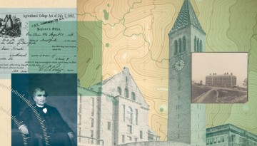 Collage of Ezra Cornell and document establishing the Agricultural College