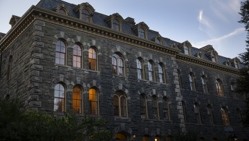 White Hall glows at dusk.