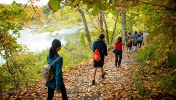 Students navigate the perimeter of Beebe Lake
