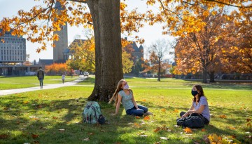Students study and socialize on the Arts Quad.