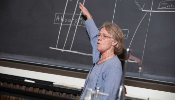 Person teaching at a chalk board